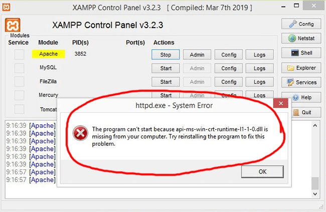 xampp httpd system error